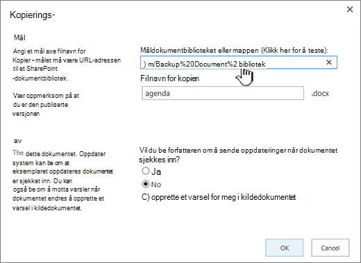 Kopier-dialogboks med nettadresse valgt.