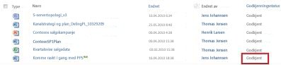 SharePoint-bibliotek etter at en ventende fil har fått statusen Godkjent