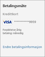 Skjermbilde viser «Endre betalingsdetaljer»-koblingen.