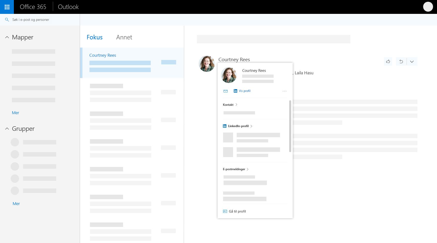Profilkort i Outlook på nettet