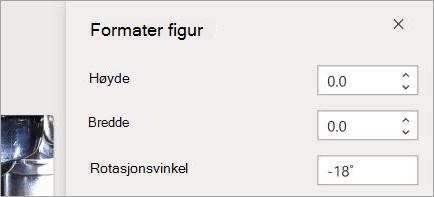 Viser kontroller for figur formatering