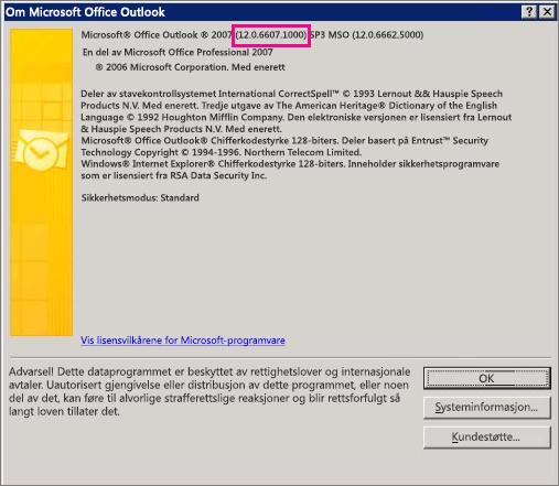 Skjermbilde som viser hvor Outlook 2007-versjonsnummeret vises i dialogboksen Om Microsoft Office Outlook.