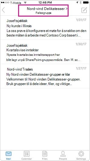 Outlook mobile samtalevisning med overskrift uthevet