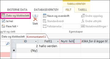 Legge til et dato/klokkeslett-felt i dataarkvisning