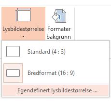 Klikk Egendefinert lysbildestørrelse på Lysbildestørrelse-menyen.