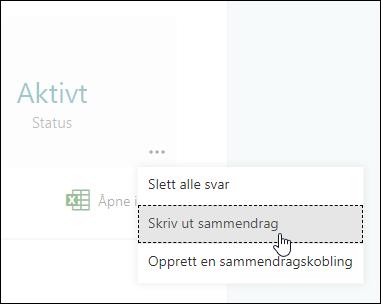 Alternativet Skriv ut Sammendrag i Microsoft Forms