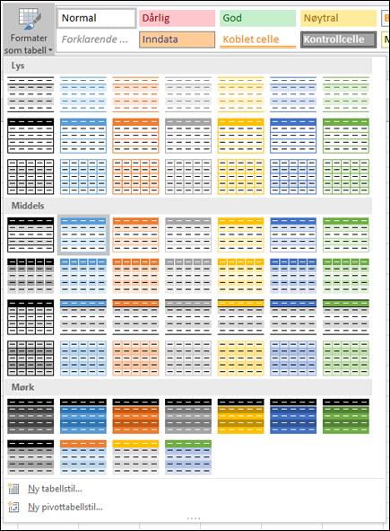 Stilgalleri for Excel-tabeller