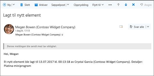 E-post sendt av Microsoft Flow når et element endret