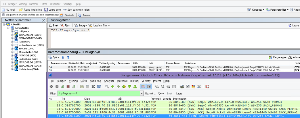 Filter i Netmon eller Wireshark for Syn-pakker for begge verktøyene: TCP.Flags.Syn == 1.