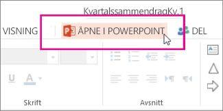 Åpne i skrivebordsversjonen av PowerPoint