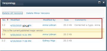 Versjonsloggen med versjon 3.1 fjernet