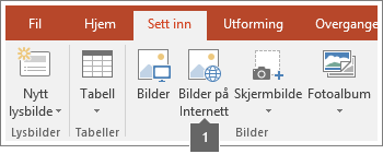 Skjermbilde av hvordan du legger til bilder på Internett i Office-programmer.