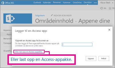 Laste opp en Access App-pakke til siden Legg til en app på et SharePoint-nettsted