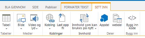 Skjermbilde av kategorien Sett inn, som inneholder knapper for innsetting av tabeller, videoer, grafikk og koblinger på områdesidene
