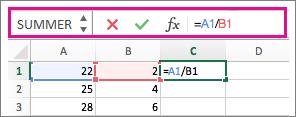Formellinjen viser en formel
