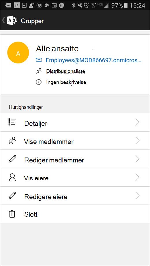 Velg gruppen i Office 365 Admin-appen Slik redigerer du detaljer som medlemmer og eiere.
