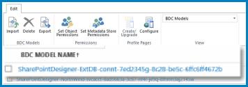 En grafikk av båndet i BDC-modell-visningen i SharePoint Onlines BCS.