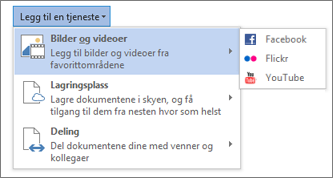 Legge til en tjeneste som Flickr eller Facebook for Office