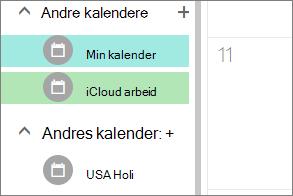 iCloud kalenderen vises under andre kalendere i Outlook på Internett