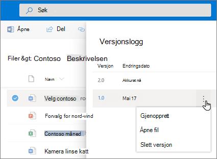 Skjermbilde av gjenoppretting av en fil i OneDrive for Business fra versjonsloggen i detaljruten i den moderne opplevelsen