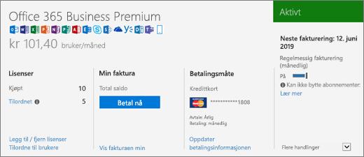 Abonnementer-siden som viser hvilket abonnement du har, og statusen til abonnementet.