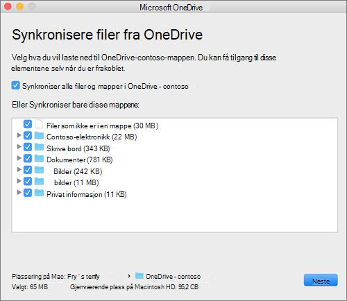 Skjerm bilde av konfigurasjons menyen for OneDrive for å velge hvilke mapper eller filer som skal synkroniseres.