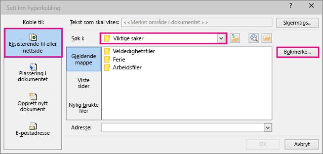 Viser dialogboksen hvor valget for å sette inn en kobling til en annen fil er valgt