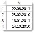 Usorterte datoer i et regneark