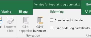 Oversikt over Utforming-verktøylinjen i Excel