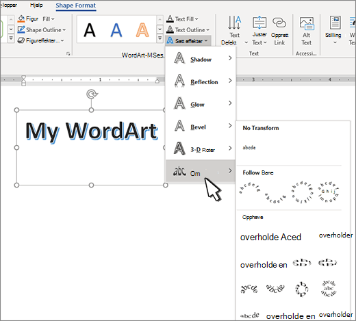 Transformasjon av tekst effekter