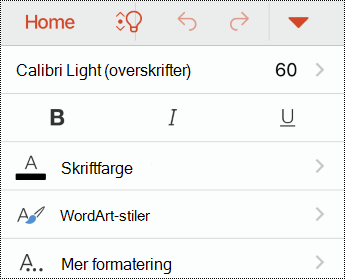Skrift-menyen i PowerPoint for iOS.