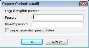 Du kan angi et passord ved hjelp av dialogboksen Opprett eller Åpne datafil for Outlook.