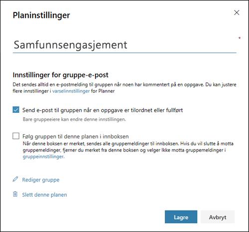 Skjermbilde: Viser innstillingen «Send e-post til planens gruppe...» for planinnstillingene
