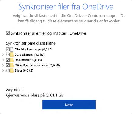 Skjermbilde av synkroniseringsfiler fra OneDrive-dialogboksen