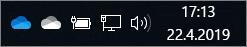 Synkroniseringsklienten for OneDrive med de blå og hvite skyikonene