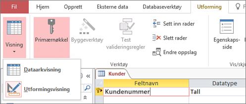 Bytt tabellutformingen mellom dataarkvisning og utformingsvisning