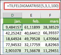 TILFELDIGMATRISE-funksjonen med minimums-, maksimums- og desimalargumenter