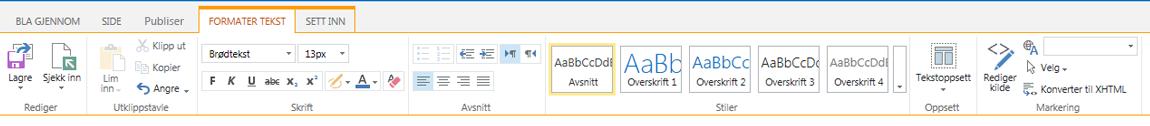 Skjermbilde av kategorien Formater tekst, som inneholder mange knapper for tekstformatering