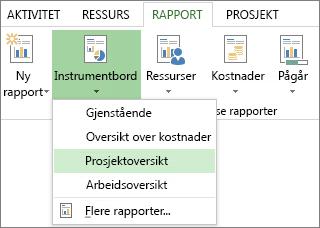 Instrumentbord-menyen i Rapport-kategorien.
