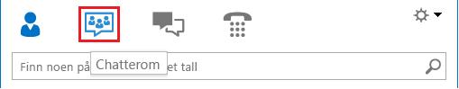 Skjermbilde av inndelingen med ikonvisning i hovedvinduet for Lync, med merket chatterom