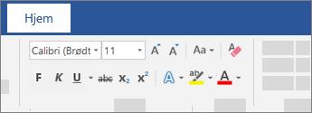 Alternativer for tekstformatering på båndet i Word