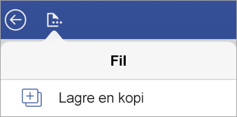 Alternativet for å lagre en kopi av en fil i Visio Viewer for iPad
