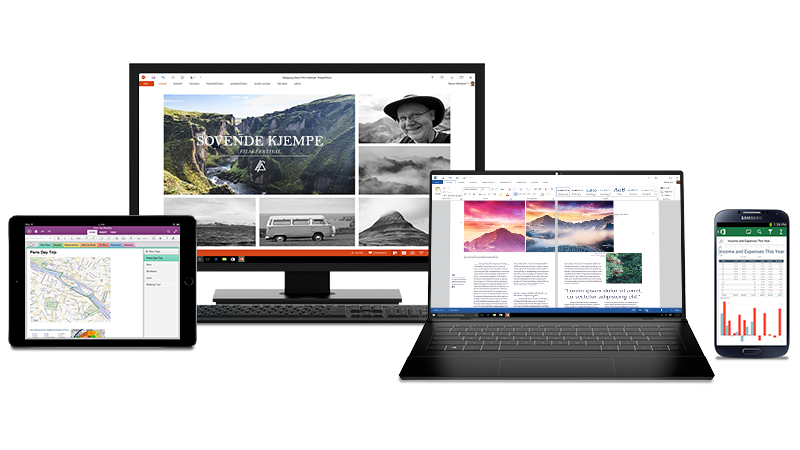 Bilder av en datamaskin, iPad og Android-telefon med Office-dokumenter på skjermen