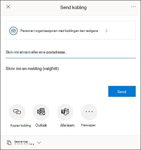Med Del-dialogboksen kan du invitere andre til å få tilgang til filen.