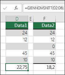 Excel viser en feilmelding på skjermen når en formel refererer til tomme celler
