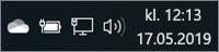 Hvitt OneDrive-ikon i systemstatusfeltet