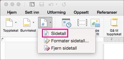På fanen Topptekst og bunntekst klikker du Sidetall på Sidetall-menyen til å legge til et sidetall.