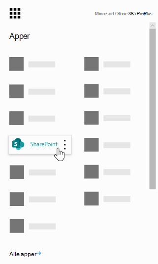 Start programmet for Office 365 med SharePoint-appen uthevet