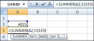 Bruke SUMMER-funksjonen til å legge sammen en celle og en verdi