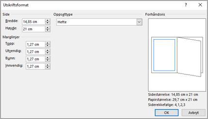 Dialog boks oppsett type for utskrifts format
